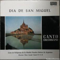 Discos de vinilo: VINILO DÍA DE SAN MIGUEL CANTO GREGORIANO. Lote 189570012