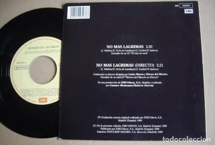 Discos de vinilo: HEROES DEL SILENCIO NO MAS LAGRIMAS SINGLE 1ªEDICIÓN EMI 1989 MUY BUSCADO! BUNBURY ZDV ESKORBUTO RIP - Foto 2 - 189655590