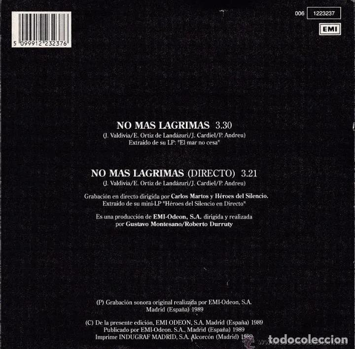 Discos de vinilo: HEROES DEL SILENCIO NO MAS LAGRIMAS SINGLE 1ªEDICIÓN EMI 1989 MUY BUSCADO! BUNBURY ZDV ESKORBUTO RIP - Foto 3 - 189655590