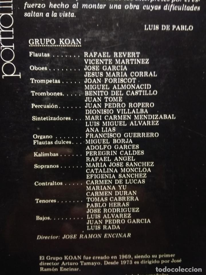 Discos de vinilo: LP LUIS DE PABLO & GRUPO KOAN : PORTRAIT IMAGINE - Foto 3 - 189754327