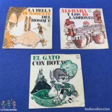 Discos de vinilo: LOTE 3 SINGLES -EL GATO CON BOTAS + LA BELLA DURMIENTE DEL BOSQUE +ALI.BABA Y LOS 40 LADRONES- 60´S. Lote 189758501