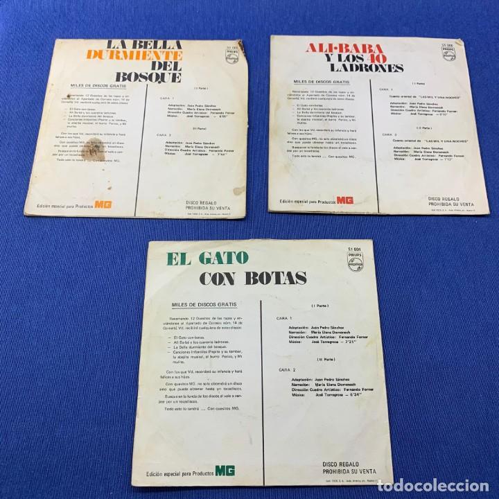 Discos de vinilo: LOTE 3 SINGLES -EL GATO CON BOTAS + LA BELLA DURMIENTE DEL BOSQUE +ALI.BABA Y LOS 40 LADRONES- 60´S - Foto 2 - 189758501
