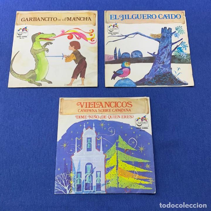 LOTE 3 SINGLES -GARBANCITO DE LA MANCHA+VILLANCICOS + EL JILGUERO CAIDO - AÑO 1972 - ZAFIRO (Música - Discos - Singles Vinilo - Música Infantil)