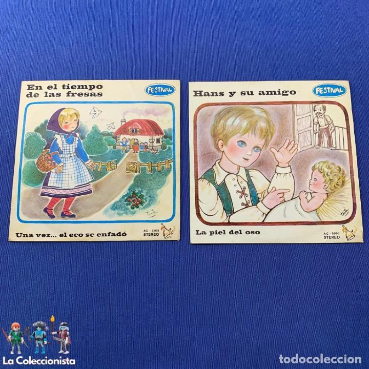 LOTE 2 SINGLES - EN EL TIEMPO DE LAS FRESAS + HANS Y SU AMIGO - FESTIVAL - AÑO 1972 (Música - Discos - Singles Vinilo - Música Infantil)
