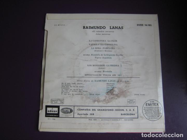 Discos de vinilo: RAIMUNDO LANAS - EL RUISEÑOR NAVARRO - JOTAS NAVARRAS EP EMI 1958 - JOTA NAVARRA - - Foto 2 - 189931040