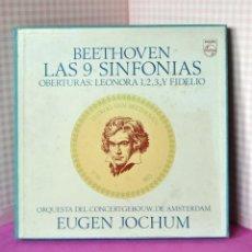 Discos de vinilo: BEETHOVEN LAS 9 SINFONÍAS CAJA COMPLETA 9 LP Y LIBRETO 1969. Lote 189982815