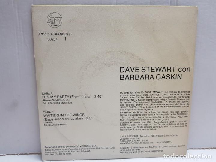 Discos de vinilo: SINGLE-DAVE STEWART-ITS MY PARTY en funda original año 1981 - Foto 2 - 190016371