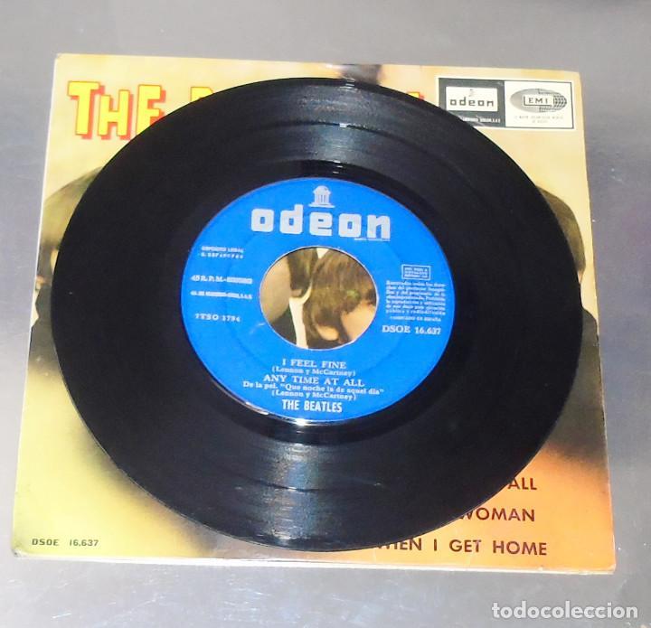 Discos de vinilo: THE BEATLES ----I FEEL FINE -- 1ª EDICION ORIGINAL 1964 ---LABEL AZUL -DSDE 16.637 - Foto 3 - 167546192