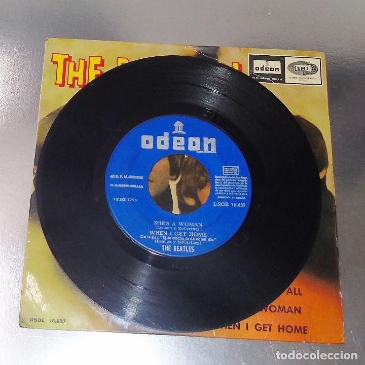 Discos de vinilo: THE BEATLES ----I FEEL FINE -- 1ª EDICION ORIGINAL 1964 ---LABEL AZUL -DSDE 16.637 - Foto 5 - 167546192