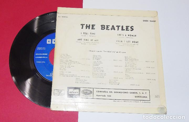 Discos de vinilo: THE BEATLES ----I FEEL FINE -- 1ª EDICION ORIGINAL 1964 ---LABEL AZUL -DSDE 16.637 - Foto 2 - 167546192