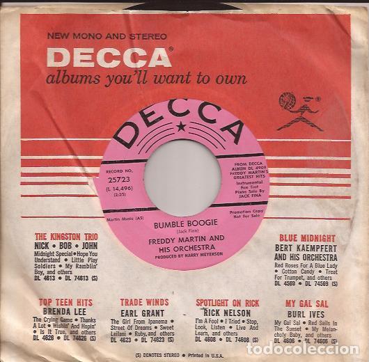 SINGLE FREDDY MARTIN ORCH. BUMBLE BOOGIE DECCA 25723 USA PROMO DJ COPY 195?? (Música - Discos - Singles Vinilo - Orquestas)