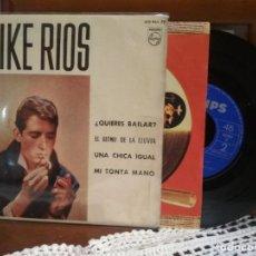 Discos de vinilo: EP 1963 MIKE RÍOS: ¿QUIERES BAILAR? / EL RITMO DE LA LLUVIA / UNA CHICA IGUAL / MI TONTA MANO. Lote 190206456