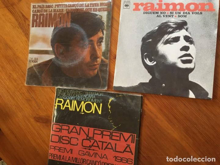 RAIMON DISCO 3 SINGLES - AL VENT - DIGUEM NO - CANÇO A LA MARE -SI EM MOR -EN EL RECORD ENCARA (Música - Discos - Singles Vinilo - Cantautores Españoles)