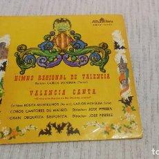 Discos de vinilo: COROS CANTORES DE MADRID - HIMNO REGIONAL DE VALENCIA / VALENCIA CANTA - ALHAMBRA SMGE 80233 - 1959. Lote 190287286
