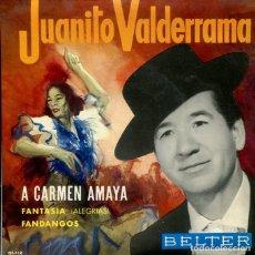 Discos de vinilo: JUANITO VALDERRAMA / A CARMEN AMAYA + 2 (EP 1964). Lote 287844338
