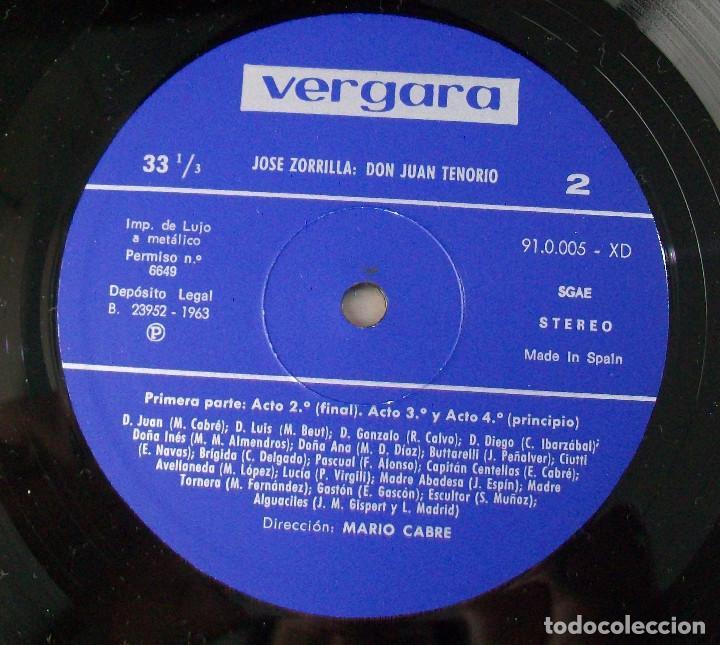 Discos de vinilo: MARIO CABRÉ EN DON JUAN TENORIO CON Mª MATILDE ALMENDROS VERGARA 1963 DOBLE DISCO - Foto 4 - 190450305