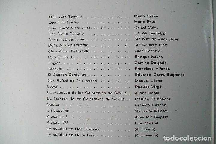 Discos de vinilo: MARIO CABRÉ EN DON JUAN TENORIO CON Mª MATILDE ALMENDROS VERGARA 1963 DOBLE DISCO - Foto 5 - 190450305