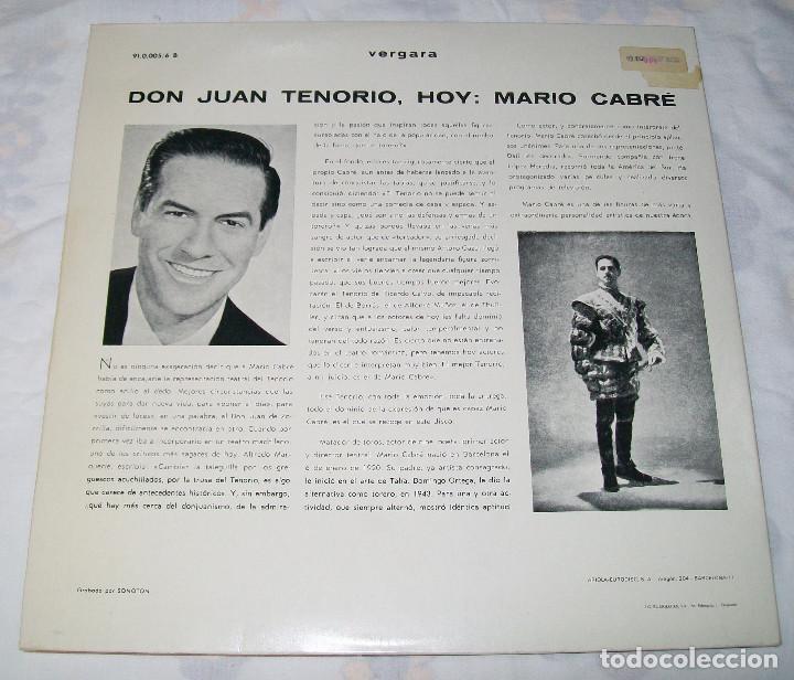 Discos de vinilo: MARIO CABRÉ EN DON JUAN TENORIO CON Mª MATILDE ALMENDROS VERGARA 1963 DOBLE DISCO - Foto 7 - 190450305