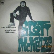 Discos de vinilo: SCOTT MCKENZIE - SAN FRANCISCO / WHAT´S THE DIFFERENCE SINGLE ORIGINAL ESPAÑOL - CBS RECORDS 1967. Lote 218482981
