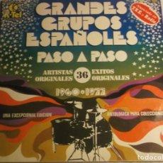 Discos de vinil: GRANDES GRUPOS ESPAÑOLES-PASO A PASO-36 EXITOS ORIGINALES-DOBLE LP. Lote 190548461