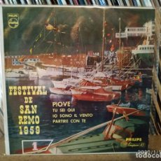 Discos de vinilo: FESTIVAL DE SAN REMO 1959.CANTA ARTURO TESTA. PIOVE. EP VINILO. Lote 190634028