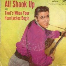 Discos de vinilo: ELVIS PRESLEY - ALL SHOOK UP - THAT'S WHEN YOUR HEARTACHES BEGIN - SG USA. Lote 190726386