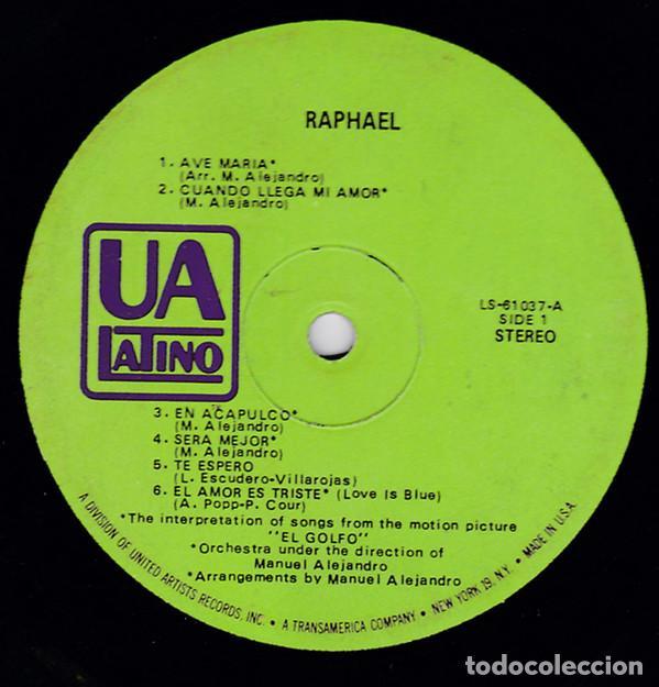 Discos de vinilo: Raphael 1968 - raro, edit promocional, org edt usa + inner sleeve, UA Latino 31037, exc - Foto 2 - 190769252