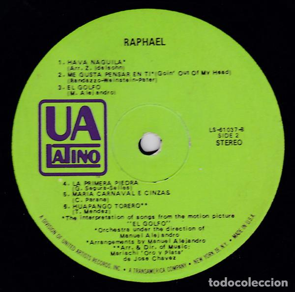 Discos de vinilo: Raphael 1968 - raro, edit promocional, org edt usa + inner sleeve, UA Latino 31037, exc - Foto 3 - 190769252