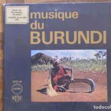 Discos de vinilo: MUSIQUE DU BURUNDI. OCORA, OCR 40. GATEFOLD. FRANCIA, 1968. INSERTO CON TEXTO EN INGLÉS Y FRANCÉS.. Lote 190915728