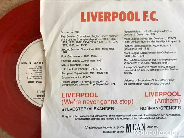 Discos de vinilo: LIVERPOOL F.C. - Were never gonna stop - 1983 - Foto 2 - 191006476