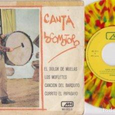 Discos de vinilo: LOS CHIRIPITIFLAUTICOS - CANTA LOCOMOTORO - EP DE VINILO DE COLORES. Lote 191041655
