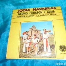 Discos de vinilo: HERMANOS LIZARRAGA. NERVIO, CORAZON Y ALMA. JOTAS NAVARRAS. EP. PAX, 1974. IMPECABLE. Lote 191059777