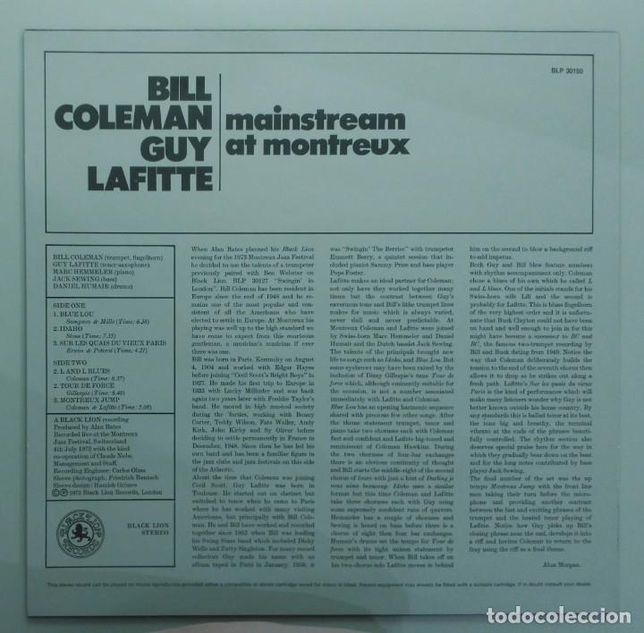 Discos de vinilo: Bill Coleman & Guy Lafitte – Mainstream At Montreux UK 1973 BLACK LION Records - Foto 2 - 190875678