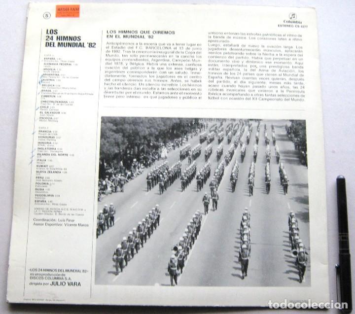 Discos de vinilo: LP DISCO VINILO LOS 24 HIMNOS DEL MUNDIAL FUTBOL ESPAÑA 82 COLUMBIA ESTEREO ORIGINAL 31x31 - Foto 3 - 191171563