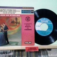 Discos de vinilo: LMV - ORCHESTRE DE LA RADIO DE VIENNE. VALSES DE STRAUSS. PHILIPS, REF. 428.003 PE . Lote 191197005