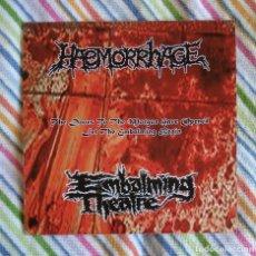 Discos de vinilo: EMBALMING THEATRE / HAEMORRHAGE - SPLIT 7'' EP VINILO NARANJA - GOREGRIND GRINDCORE DEATH METAL. Lote 191304176