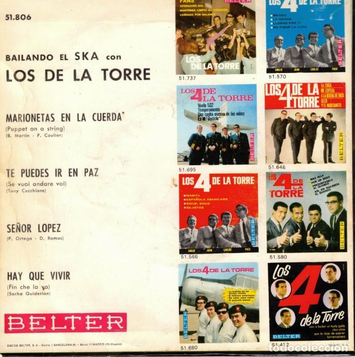 Discos de vinilo: LOS DE LA TORRE - BAILANDO EL SKA - MARIONETAS EN LA CUERDA + 3 - EP SPAIN 1967 - Foto 2 - 191348432