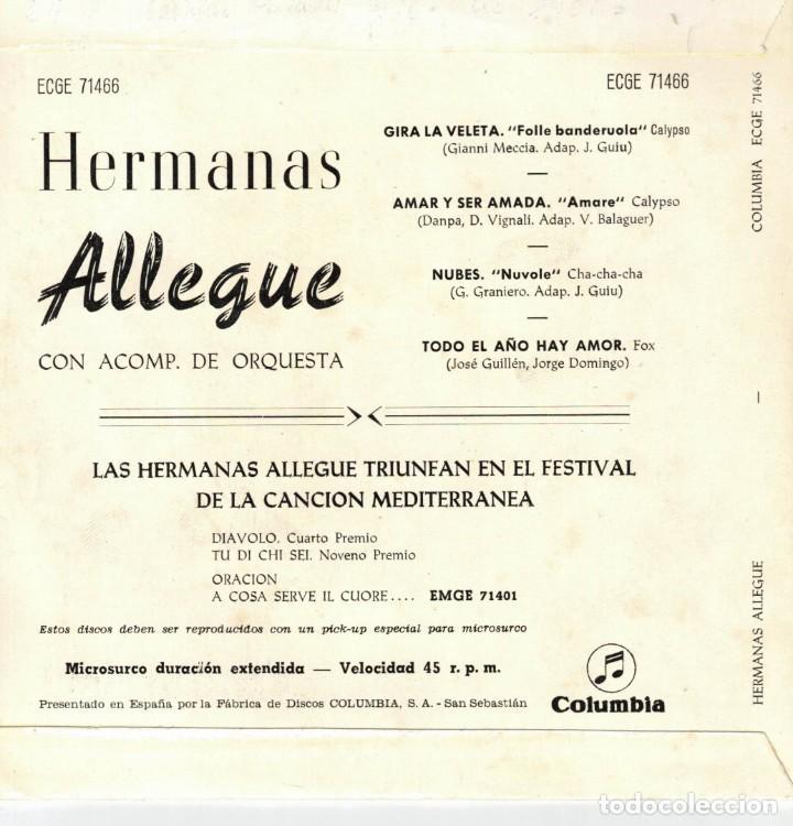 Discos de vinilo: HERMANAS ALLEGUE - GIRA LA VELETA + 3 - EP SPAIN 1960 - Foto 2 - 191348830