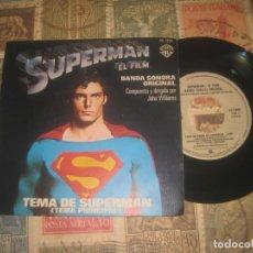 Discos de vinilo: SUPERMAN EL FILM, TEMA PRINCIPAL, TEMA DE AMOR, JOHN WILLIAMS, (WARNER BROS 1979) O ESPAÑA. Lote 191479393