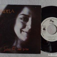 Discos de vinilo: CANDELA -CUANDO YO TE VI / SIN TI NO VIVO - SINGLE PROMOCIONAL 1990 - RNE. Lote 191483570