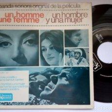 Disques de vinyle: FRANCIS LAI - UN HOMBRE Y UNA MUJER O.S.T - EP 1966 - UA. Lote 191485333