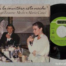 Discos de vinilo: JUAN ERASMO MOCHI, MARIA CASAL - SI LA INVITARA ESTA NOCHE - SINGLE PROMOCIONAL 1986 - DIAPASON. Lote 191485418