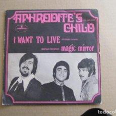 Discos de vinilo: APHRODITE'S CHILD. I WANT TO LIVE. MERCURY, 132 505 MCF. ESPAÑA, 1969. FUNDA VG+. DISCO VG. . Lote 191490057