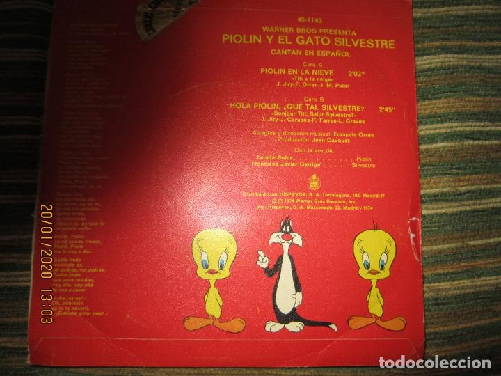 Discos de vinilo: EL GATO SILVESTRE Y PIOLIN - PIOLIN EN LA NIEVE SINGLE ORIGINAL ESPAÑOL - WARNER 1974 - STEREO - - Foto 2 - 191596832