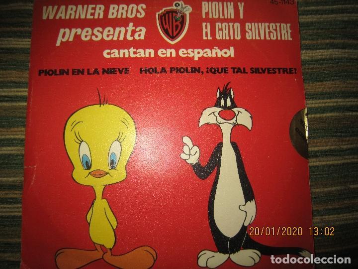 EL GATO SILVESTRE Y PIOLIN - PIOLIN EN LA NIEVE SINGLE ORIGINAL ESPAÑOL - WARNER 1974 - STEREO - (Música - Discos - Singles Vinilo - Música Infantil)
