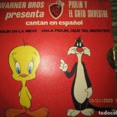 Discos de vinilo: EL GATO SILVESTRE Y PIOLIN - PIOLIN EN LA NIEVE SINGLE ORIGINAL ESPAÑOL - WARNER 1974 - STEREO -. Lote 191596832