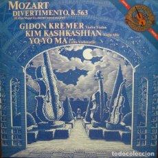 Discos de vinilo: MOZART* -GIDON KREMER,KIM KASHKASHIAN,YO-YO MA_–DIVERTIMENTO, K. 563. Lote 191604271
