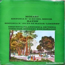 Discos de vinilo: MOZART* /HAYDN* –ORQUESTA FILARMONICA DE VIENA* , DIRECTOR:HERBERT VON KARAJAN_–SINFONIA N.º 40. Lote 191604287