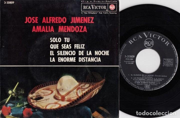 JOSE ALFREDO JIMENEZ / AMAMLIA MENDOZA - EP COMPARTIDO ESPAÑOL DE VINILO DE 1964 RANCHERAS # (Música - Discos de Vinilo - EPs - Grupos y Solistas de latinoamérica)