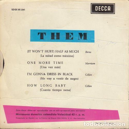 Discos de vinilo: THEM - (IT WONT HURT) HALF AS MUCH - EP ESPAÑOL DE VINILO VAN MORRISON # - Foto 2 - 191733902